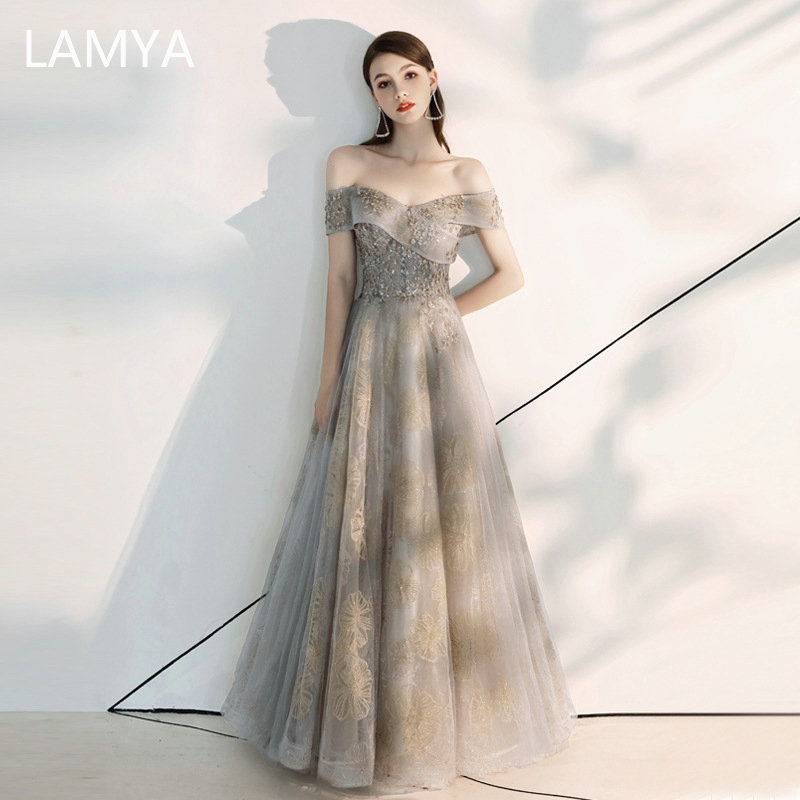 LAMYA High Quality Boat Neck Elegant Evening Party Dress Appliques Tulle A Line Prom Gown Customized Vestido De Festa