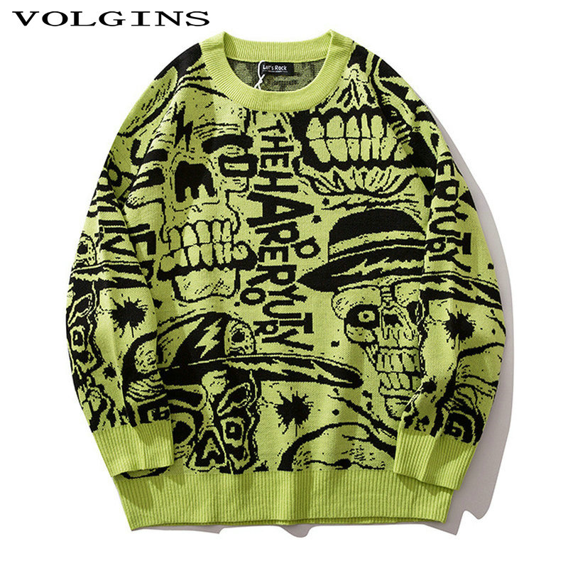 Streetwear Sweater Man Pullovers O-neck Printed Autumn Korean Style Casual Mens Clothes Knitted Warm Sweaters 2020 Fashion