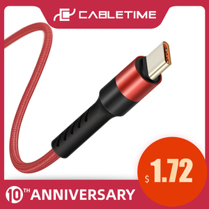 CABLETIME USB C Cable Type C Mobile Phone Cable Fast Charge Phone Cable for Samsung S9 Huawei P10 Nintendo Oneplus 5 Black C245