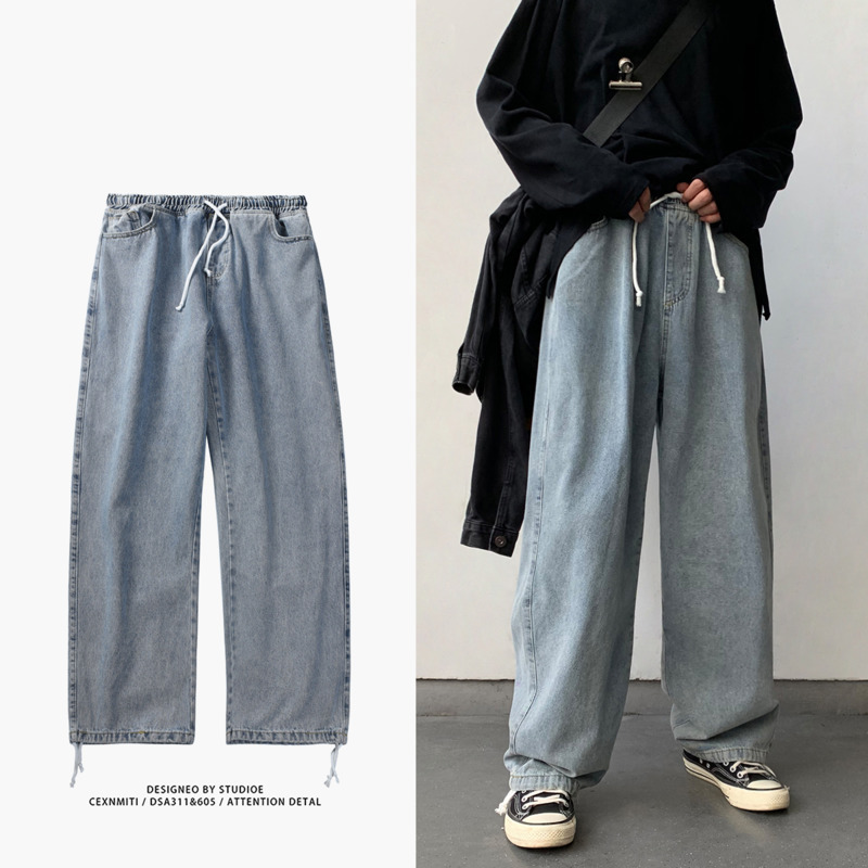 Drawstring Straight Jeans Men's Fashion Retro Casual Wide Leg Jeans Pants Men Streetwear Wild Loose Hip Hop Denim Trousers Mens