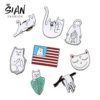 SIAN creativo gato blanco en las ramas broche Banana hoja sonrisa gatito bandera Multi-estilo dibujos animados animales broches hombres mujeres pin