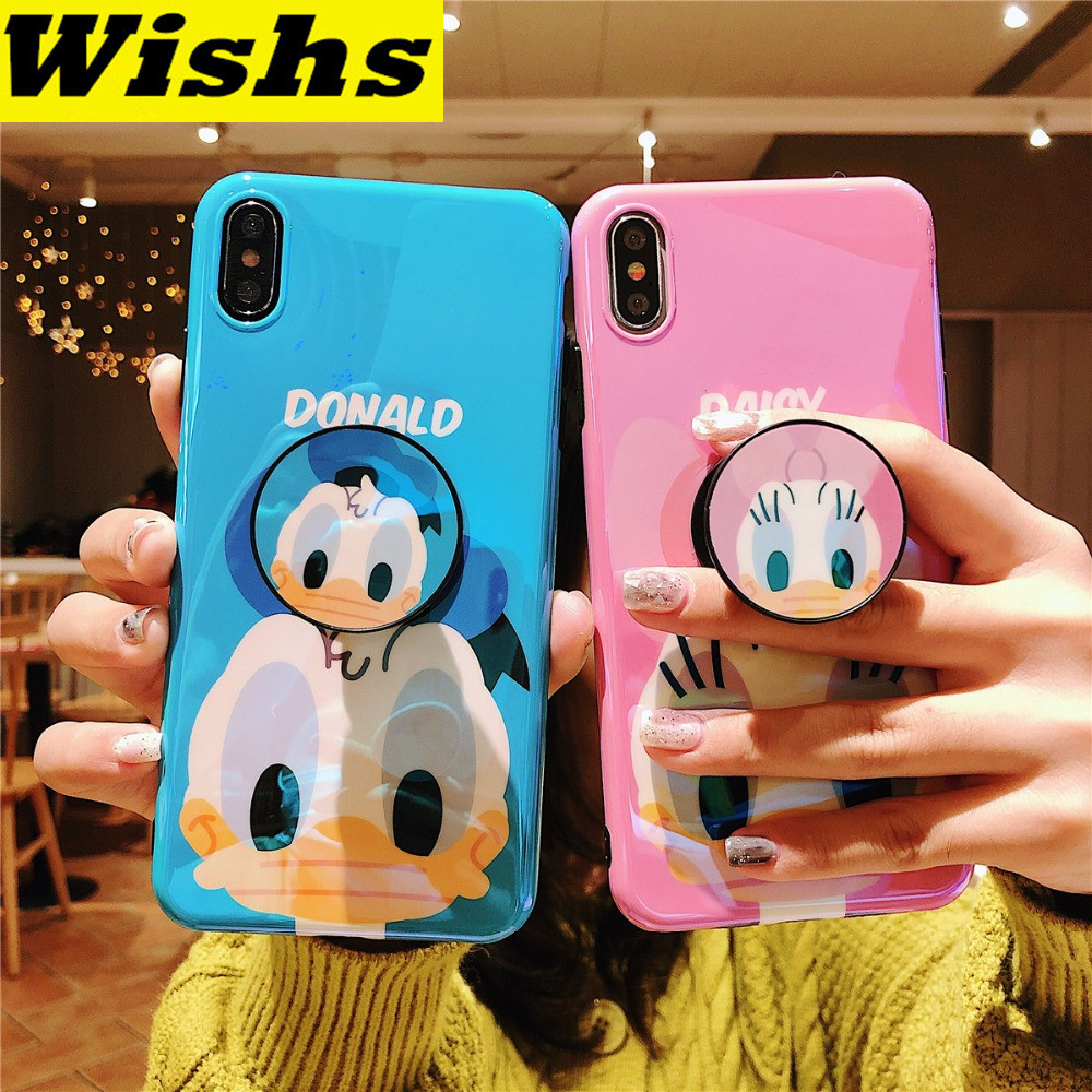 For <font><b>iPhone</b></font> 11 Pro MAX Funny Cartoon Cute Lovely Girly <font><b>Mouse</b></font> Duck Bracket Blue Ray IMD <font><b>Case</b></font> For <font><b>iPhone</b></font> XR XS MAX X 6 6S 7 <font><b>8</b></font> Plus image