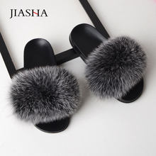 Shoes woman slippers fashion fox fur casual women Indoor Slippers zapatos de mujer home sweet outdoor sandals slipper flat shoes(China)