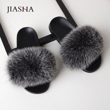 Shoes woman slippers fashion fox fur casual women Indoor Sli