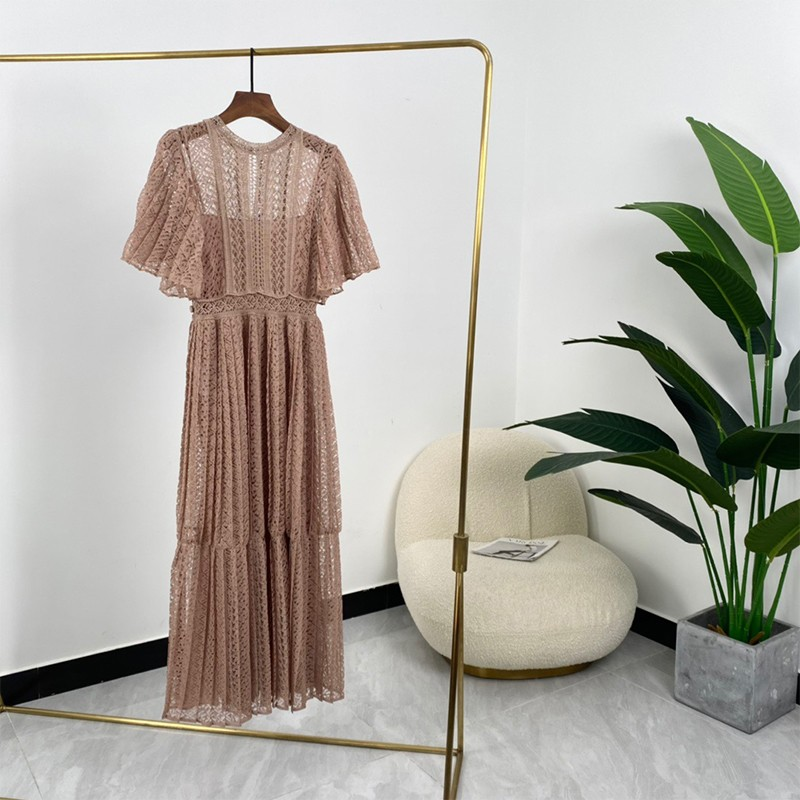 100% Silk High Quality Women Elegant Solid Pink Hollow Out Short Flare Sleeve Tiered Dresses Summer Fashion 2021 1