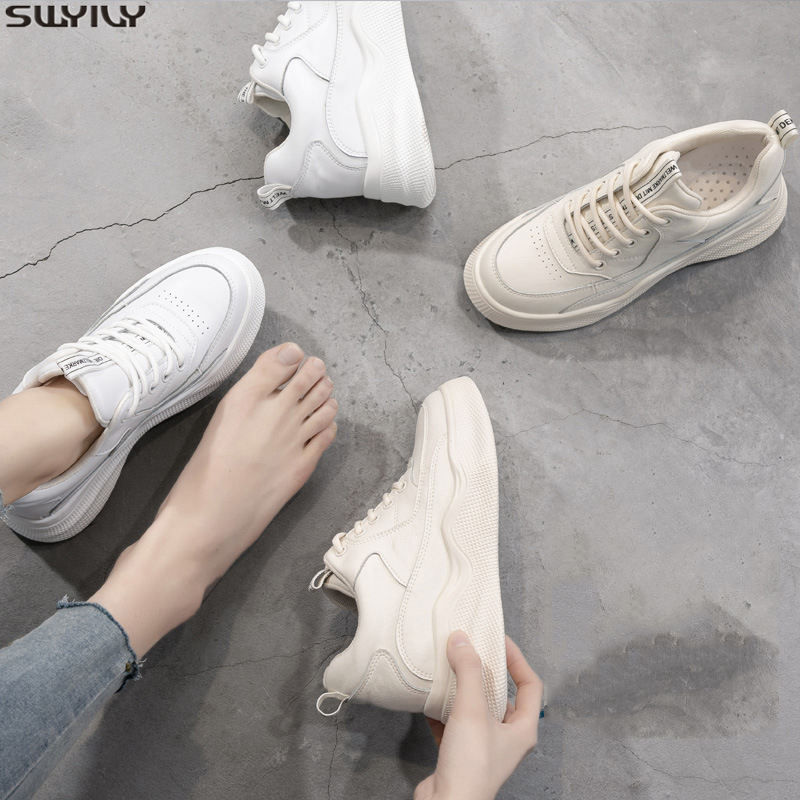 SWYIVY Slip Leather Platform Sneakers Women's Shoes Female Solid Woman Casual Shoes White 2020 Spring Shallow Sneakers For Women