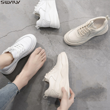 SWYIVY Slip Leather Platform Sneakers Women Casual