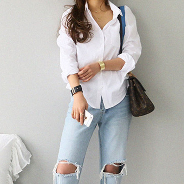 Top Long Sleeve Casual White Turn-down Collar Loose Blouses 4