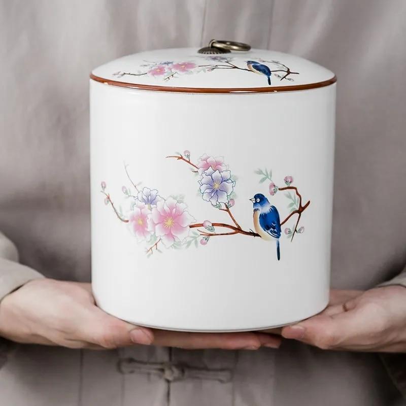 High-grade Ceramic Tea Can Household Moisture-proof Foods Spices Medicinal Materials Sealed Jar Pu'er Red Green Tea Storage Tank