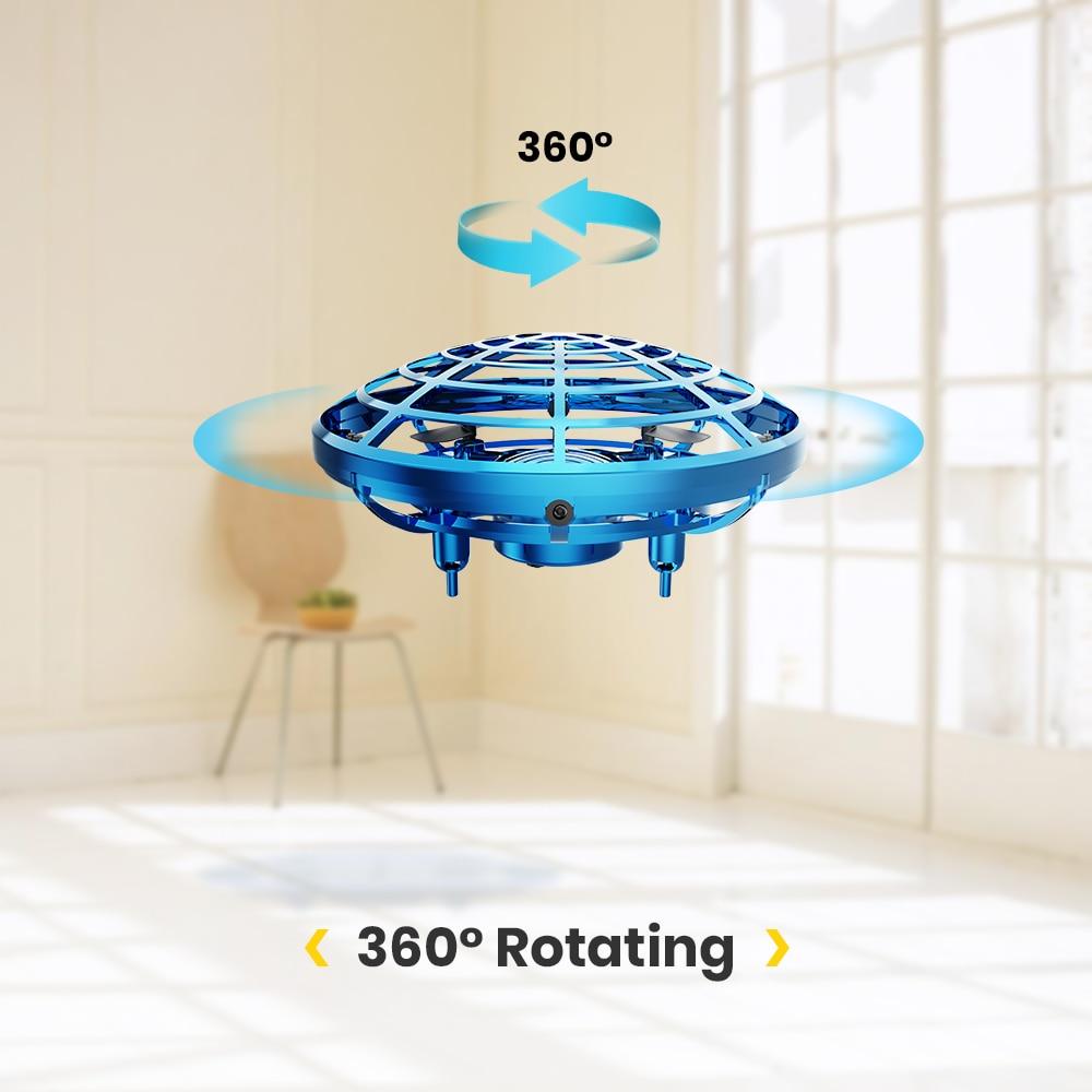 DEERC Mini UFO Drone 360 Rotating Hand Flying Ball Anti Collision Aircraft Sensor Magic Hand Flying Helicopter UFO Ball For Kids (Blue UFO Mini Drone)