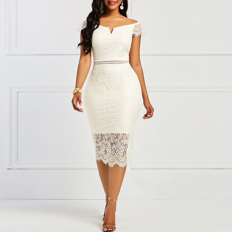 2019 Summer Women Bodycon <font><b>Dress</b></font> Slash Neck <font><b>Hollow</b></font> Out <font><b>Lace</b></font> Patchwork <font><b>Dress</b></font> <font><b>Backless</b></font> <font><b>Sexy</b></font> Pencil <font><b>Dress</b></font> Vintage Elegant <font><b>Dresses</b></font> image