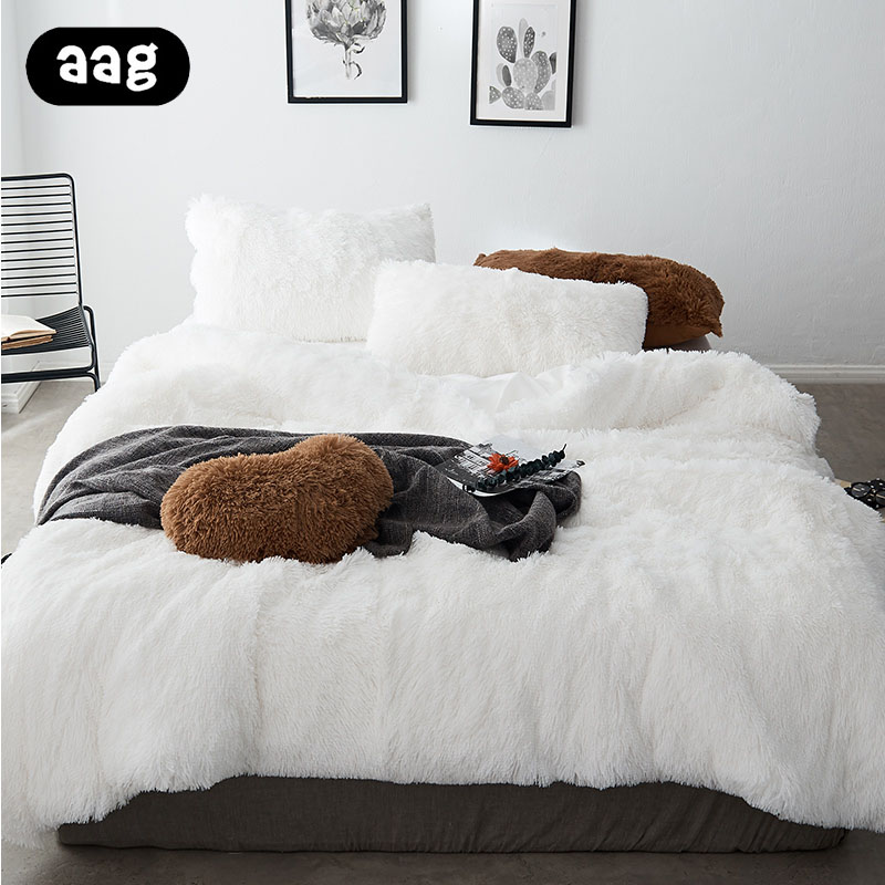 4pcs/set Winter Warm Plush Bedding Sets Luxury Long Hair Shaggy Faux Fur Duvet Cover Set Double Queen King Size Bed Cover Set