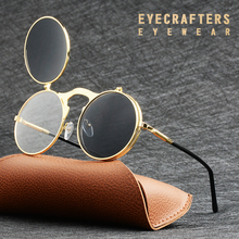 EYECRAFTERS Fashion Flip Up Lens Steampunk Vintage Retro Style Round Sunglasses Spring Legs Clamshell Double Lens Eyewaer