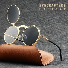 EYECRAFTERS Mode Flip Up Objektiv Steampunk Vintage Retro Stil Runde Sonnenbrille Frühling Beine Clamshell Doppel Objektiv Eyewaer