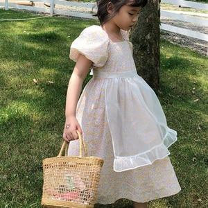 2020 летнее платье с пышными рукавами и цветочным принтом для маленьких девочек детское Повседневное платье принцессы с принтом трапециевид...