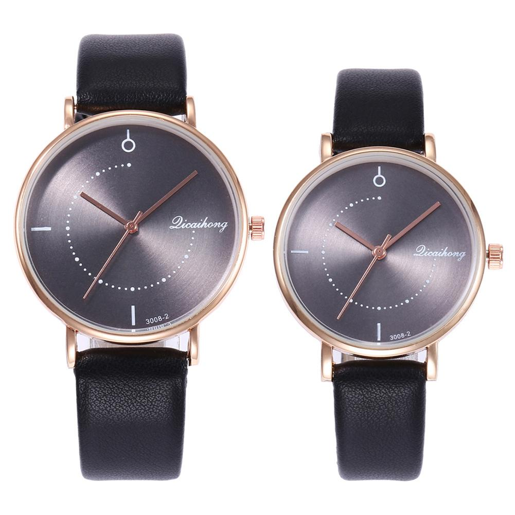 Casual Unisex No Numbers Faux Leather Pointer Quartz Wrist Watch Lovers Gift Couple Watches Pair Men And Women часы унисекс