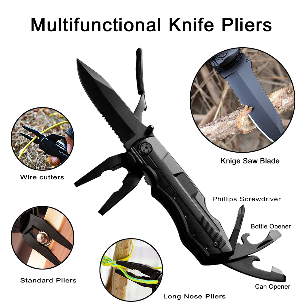 Pliers Wire Stripper Cable Cutter Multifunctional Tool Camping Survival Hunting Folding Knife Multitool Screwdriver Set