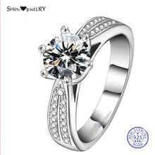 Женское кольцо с муассанитом серебро 925 пробы