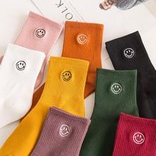 Cartoon Socks Chaussettes Funny Smiley Face Happy-Streetwear Harajuku Women Cotton Woman