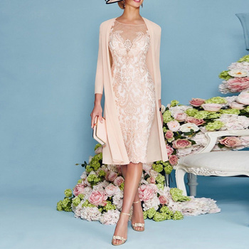 Exquisite Lace Mother Of the Bride Dress with Chiffon Jacket Scoop Neck 3/4 Sleeves Knee Length Mother Dresses Vestido De Festa tea length mother of the bride dress with jacket long sleeves chiffon with beading appliques vestido de festa madrinha v neck