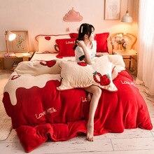 Duvet-Cover Double-Queen Velvet JUSTCHIC Winter Cartoon Print Milk Cashmere Strawberry