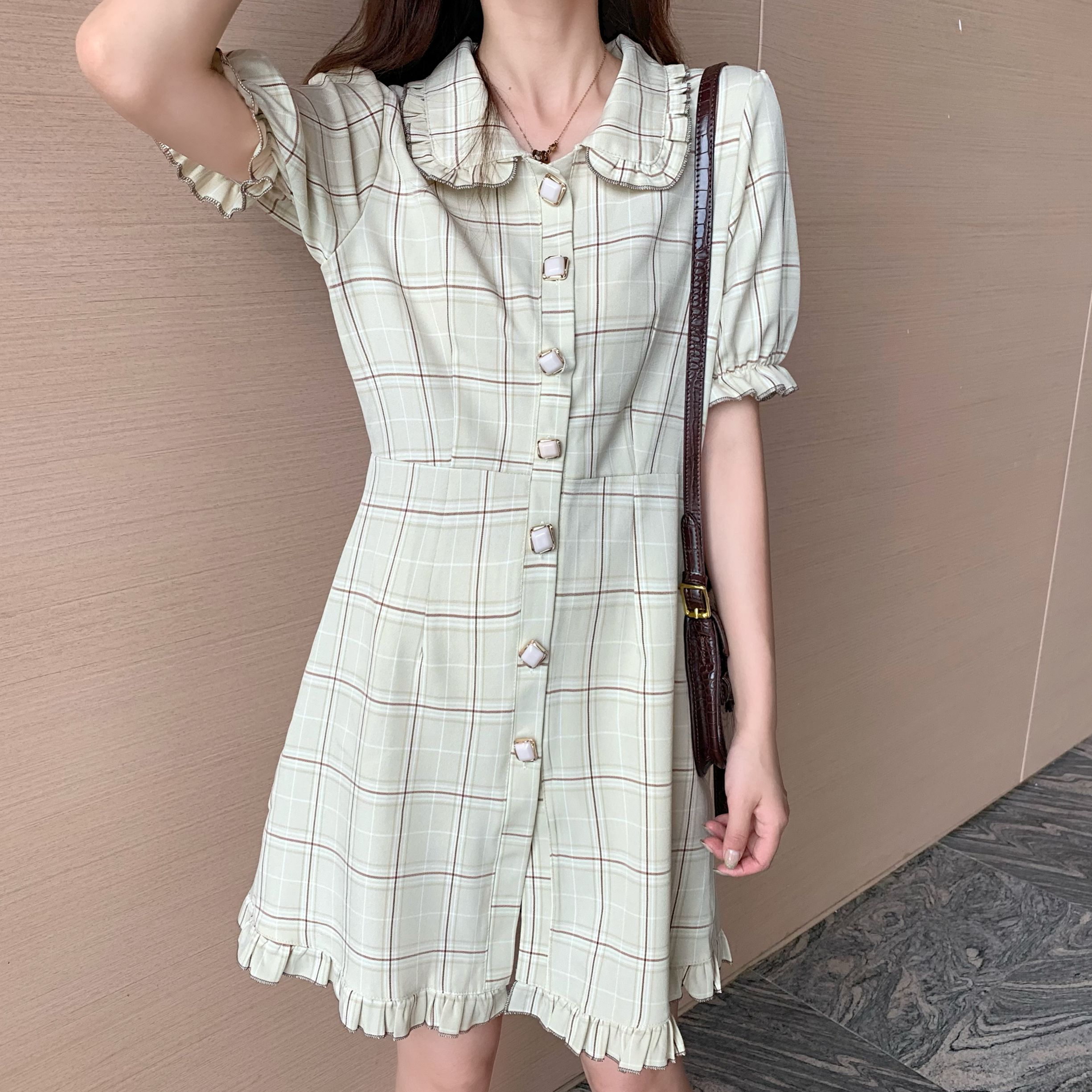 US $15.15 15% OFFPlaid Pilz Puppe Kragen Puff Sleeve Kleid frauen Schöne  Kleider Chic Ins Kawaii Mädchen Süße Harajuku Punk Kleidung Für