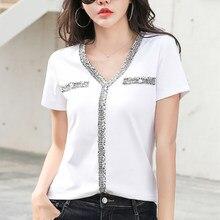 Shintimes T-Shirt con scollo a v Vintage T-Shirt con perline maglietta da donna 2021 estate top nuovi vestiti di moda coreana maglietta da donna Femme