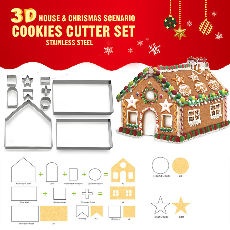 10pcs Stainless Steel Christmas House Cookie Cutter Kit 3D Chocolate House Cookie Cutter Set TN99