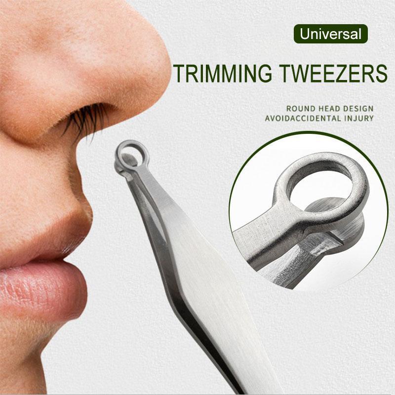 Universal Nose Hair Trimming Tweezers Round Tip Eyebrow Tweezer Perfectly Stainless Steel Nose Hair Removal Tweezers