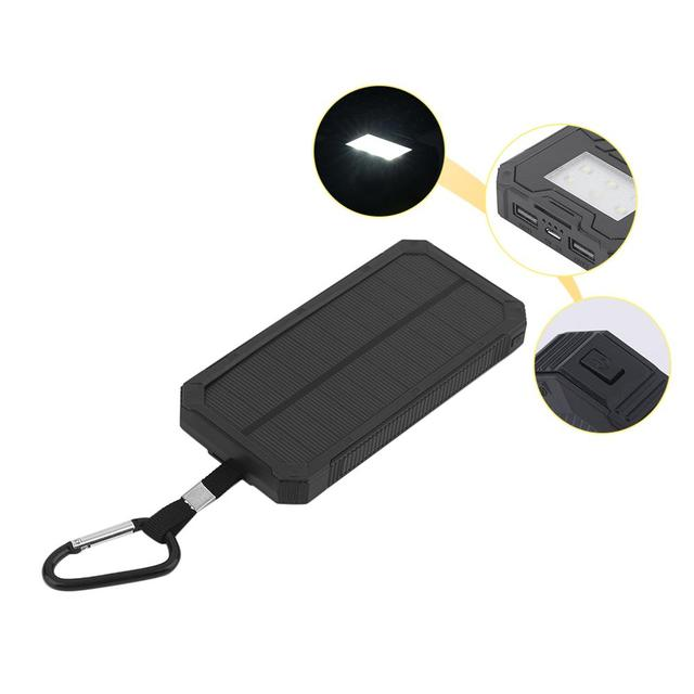 Portable Dual USB Port Solar Powered Power Bank SOS Camping Battery Power Supply Charger For Phones Portable Black convenient 2