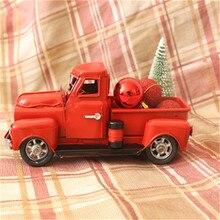 Modelos de coches antiguos Vintage Navidad camioneta de metal rojo con ruedas Mesa decoración superior niños regalo juguete árbol de Navidad Santa Claus niños