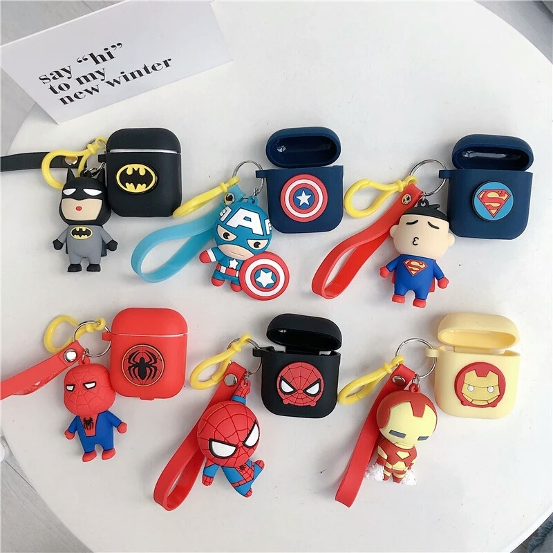 Iron Man Batman Captain America Spiderman Silicone Case For Apple Airpods soft shockproof Cover For New air pods 2 accessories