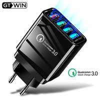 Chargeur USB GTWIN chargeur de téléphone portable de voyage rapide Charge murale rapide ue royaume-uni QC 3.0 adaptateur de prise pour iPhone Huawei Mate 30 Pro