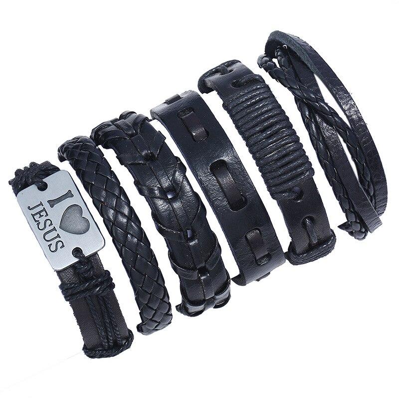BLUESTAR Braided Wrap Leather Bracelets for Men Women Vintage Ethnic Tribal Wristbands Bracelet Rudder