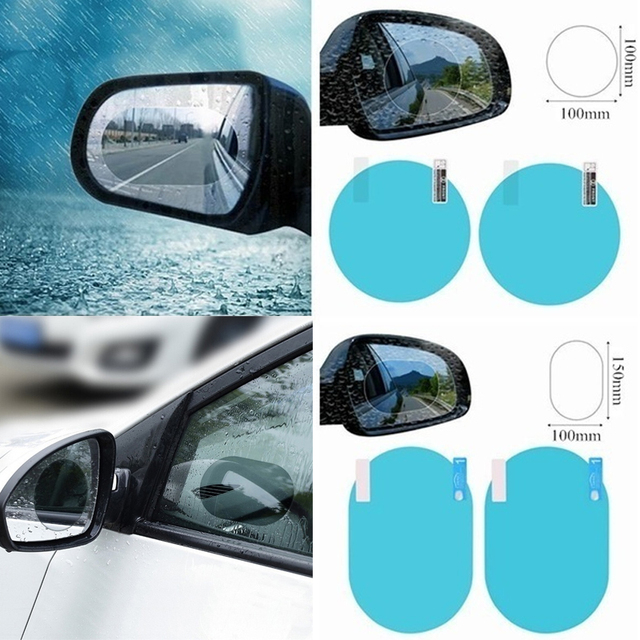 2Pcs/set Rainproof Car Accessories Car Mirror Window Clear Film Membrane Anti Fog Anti-glare Waterproof Sticker Driving Safety 1