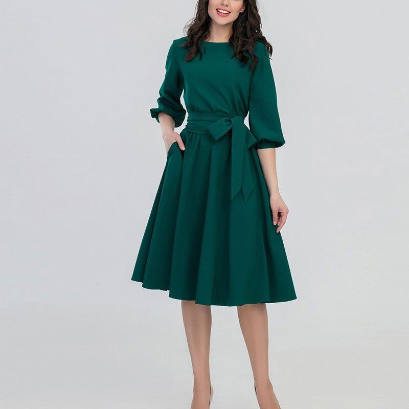 2019 New Women Fashion Vintage Dress Autumn Green O-Neck Elegant A Line Dresses Puff Sleeve Vestidos Dress Pocket