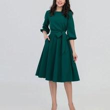 2019 New Women Fashion Vintage Dress Autumn Green O-Neck Elegant A Line