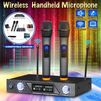Professional Wireless 2 Channel Dual Cordless Handheld Mic Microphone System For Studio Karaoke Music Players