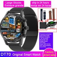 DT70 Smart Watch uomo 454*454 schermo telefonata ricarica Wireless pulsante rotante IP68 lettore musicale impermeabile ECG PPG Smartwatch