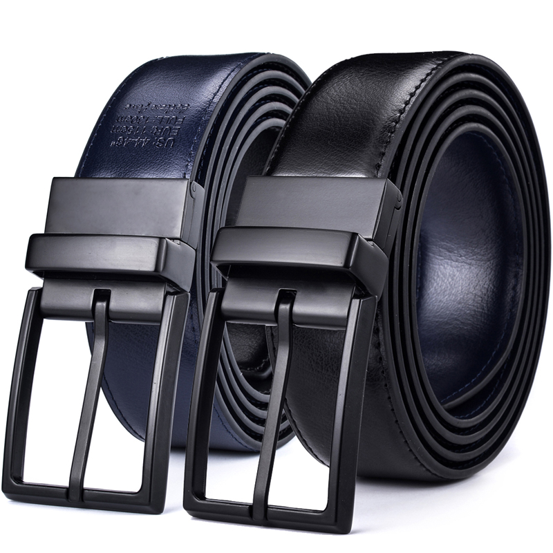 Men's Leather Reversible   Belt   - Classic & Fashion Designs Black/blue   Belts   with Rotated Buckle ceinture Size 28-54 wholesale