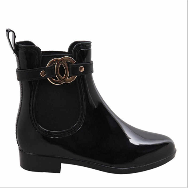 Bayan botları kış yaz evrensel yağmur çizmeleri Buck toka platformu üzerinde kayma kaymaz su geçirmez yağmur çizmeleri