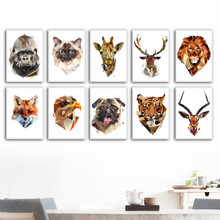Abstract Fox Lion Giraffe Deer Antelope Nordic Posters And Prints Wall Art Canvas Painting Animals Pictures For Kids Room