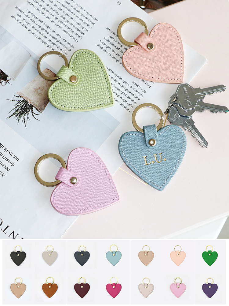New fashion free custom initial letters genuine saffiano leather heart shape keychain women key holder female heart key ring