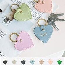 Keychain Women Key-Ring Letters Heart-Shape Custom Initial New-Fashion Genuine Free Saffiano