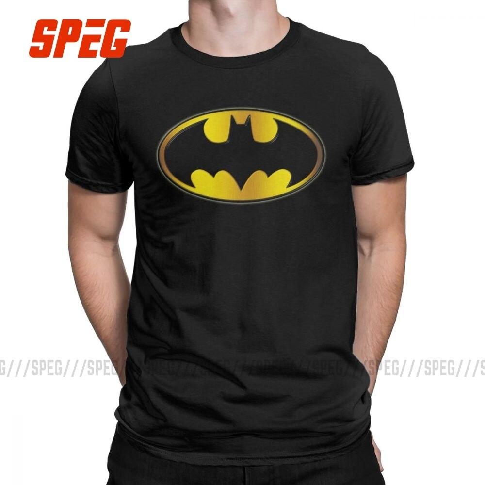 Men T-Shirts Batman Symbol Oval Gradient Logo Casual 100% Cotton Tee Shirt Short Sleeve T Shirt O Neck Clothing Adult Plus Size