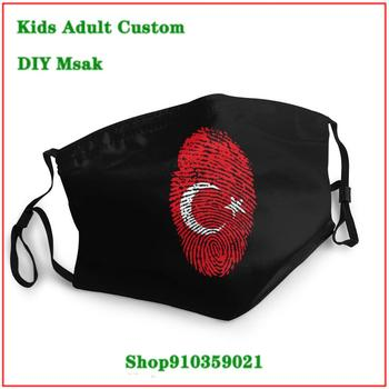 Luxury Brand reusable face mask kids Turkey Flag Fingerprint mask pm2.5 funny pattem print grimace ghost replaceable filter