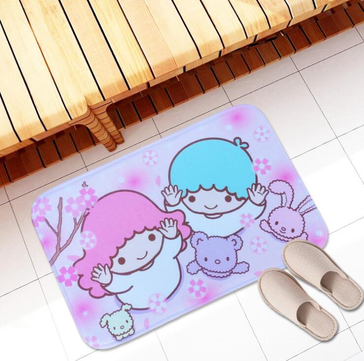 Cartoon Little Twin Star Print Plush Carpet Foot Pad Door Mat Carpet Plush Toy 3047