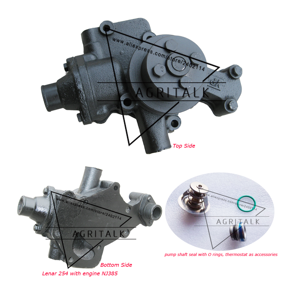 Water Pump (thermostat Included)  For Fengshou Lenanr Tractor FS250 / LE254 / LE274 With Engine NJ380 / NJ385 / IL316DI-DAF