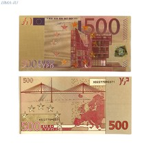 Notas comemorativas 500 eur ouro de alta qualidade notas presentes coleção decoração 24k banhado a ouro eur