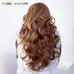 Image 3 - AISI HAIR Long Wavy Natural Hair Wig Mixed Dark Brown Synthetic Wigs For Black Women Side Part Blonde Wigs Heat Resistant Fiber